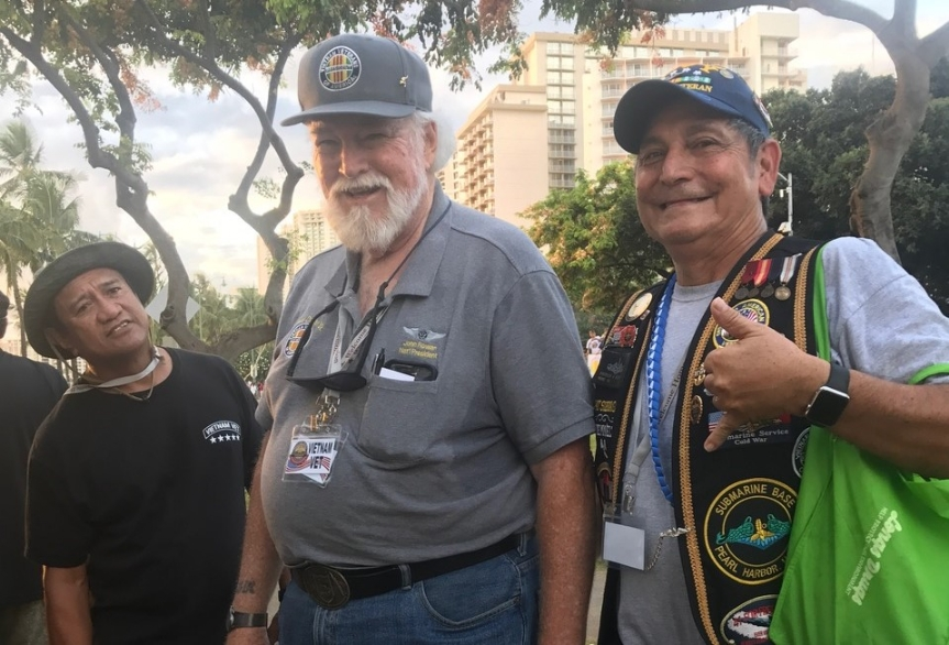 May 2017.  Post 1540 Life Member Patrick Suenaga (Far right) participates in a long-overdue welcome home parade for Vietnam War veterans.